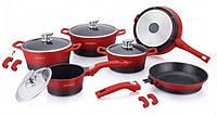 Набор посуды, кастрюль Royalty Line RL-ES2014M Red/Black (Швейцария, литой алюминий, 14 шт)