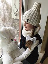 Демисезонный детский вязаныйнабор шапочка и снуд ручной работы для девочки и мальчика.