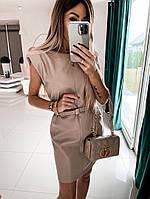 Женское стильное платье без рукавов из эко-кожи, фото 1