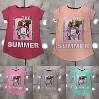 Підліткова футболка SUMMER для дівчаток 7-14 років,колір уточнюйте при замовленні, фото 1