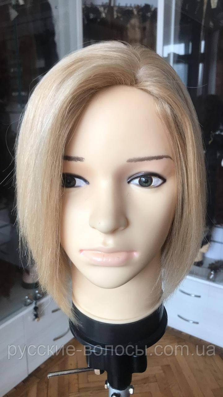 Перука натуральний жіночий прямий каре блонд з дитячих волосся