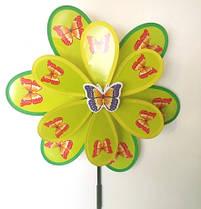 Ветряк детский зелёный Бабочка 35 см на палочке 70 см Метр+ 466-61
