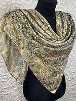 Женский хлопковый платок в этническом стиле светло-желтый (цв.3)