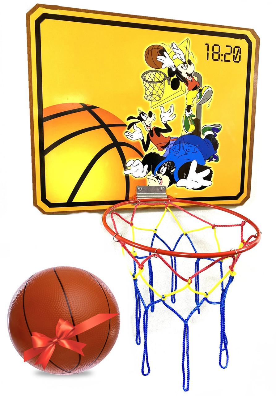 """Щит баскетбольный 620х500мм с корзиной и сеткой, """"Гуфи"""""""