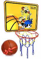 """Детский баскетбольный щит 620х500мм с корзиной и сеткой, """"Гуфи"""""""