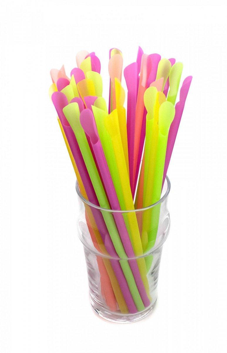 Трубочка лопатка для коктелей цветная 20см d 6мм 100шт 31757