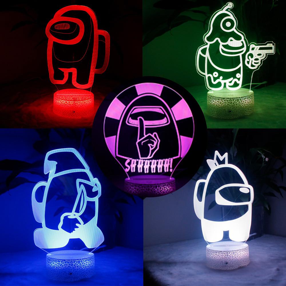 Нічник лампа дитяча Among Us s 3D Світильник Амонг Ас з Пультом Управління 16 кольорів Лампа Амонг Ас