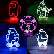 Ночник лампа детская Among Us s 3D Светильник Амонг Ас с Пультом Управления 16 цветов Лампа Амонг Ас
