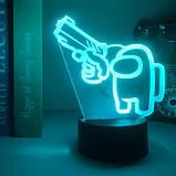 Нічник лампа дитяча Among Us s 3D Світильник Амонг Ас з Пультом Управління 16 кольорів Лампа Амонг Ас, фото 2