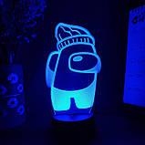 Нічник лампа дитяча Among Us s 3D Світильник Амонг Ас з Пультом Управління 16 кольорів Лампа Амонг Ас, фото 5