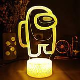 Нічник лампа дитяча Among Us s 3D Світильник Амонг Ас з Пультом Управління 16 кольорів Лампа Амонг Ас, фото 6