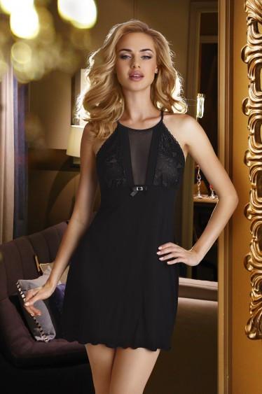 Женская ночная рубашка черного цвета без рукава Emi Eldar. Размеры 44-50