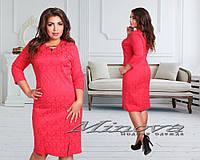Красивое коралловое платье батал. Арт-3519/7. Платье больших размеров
