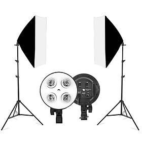 Набір постійного студійного світла Prolighting ( 50х70 див софтбокси на 4 лампи Е27 + стійка 2.2 м.)