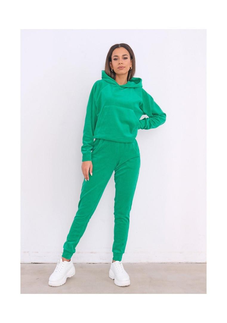 Женский спортивный костюм, турецкий велюр, р-р 42-44; 44-46 (зелёный)