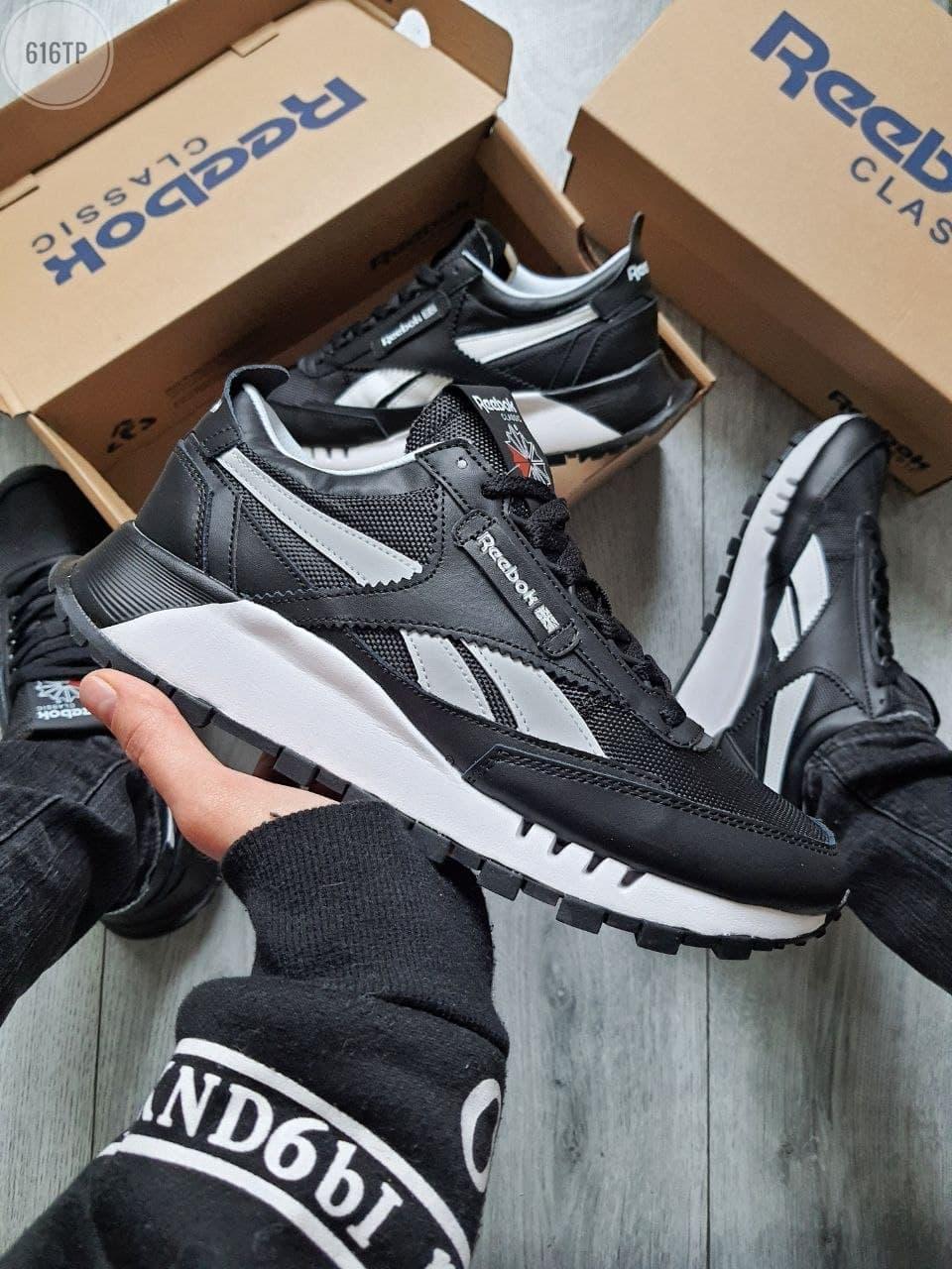 Мужские кроссовки Reebok (черные с белым) 616TP крутая обувь для парней