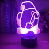 Нічник лампа дитяча Among US 3D Світильник Амонг Ас з Пультом Управління 16 кольорів Лампа, фото 7