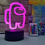 Нічник лампа дитяча Among US 3D Світильник Амонг Ас з Пультом Управління 16 кольорів Лампа, фото 4