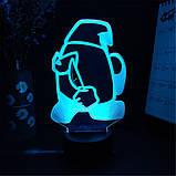 Нічник лампа дитяча Among US 3D Світильник Амонг Ас з Пультом Управління 16 кольорів Лампа, фото 5