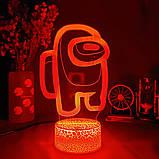 Нічник лампа дитяча Among US 3D Світильник Амонг Ас з Пультом Управління 16 кольорів Лампа, фото 3