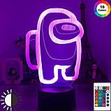 Світильник нічник Амонг Ас з Пультом Управління 16 кольорів Лампа Амонг Ас фіолетового кольору, фото 8