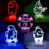 Светильник ночник Амонг Ас с Пультом Управления 16 цветов Лампа Амонг Ас фиолетового цвета, фото 3