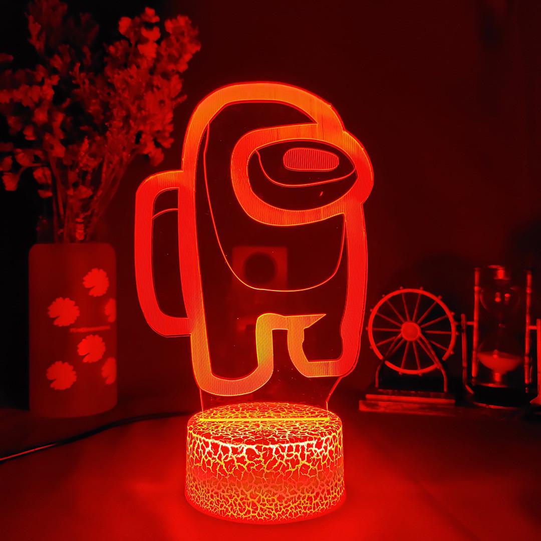 Ночник Among Us Светильник Амонг Ас с Пультом Управления 16 цветов Лампа Амонг Ас красного цвета
