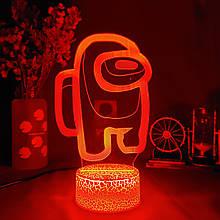 Нічник Among Us Світильник Амонг Ас з Пультом Управління 16 кольорів Лампа Амонг Ас червоного кольору