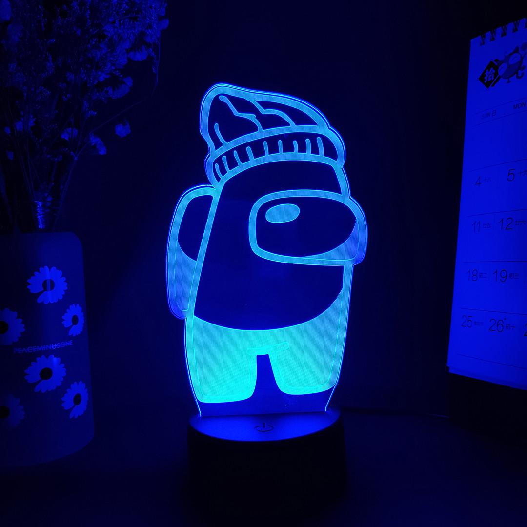 Амонг ас ночник детский16 цветов Лампа Амонг Ас синего цвета