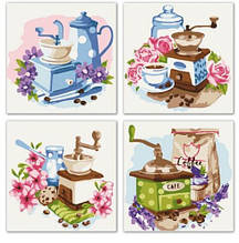 Набір для розпису за номерами Квітковий кави