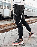 Мужские брюки-карго Пушка Огонь Scarstrope S модные молодежные черные штаны cargo подростковые брюки карго, фото 1