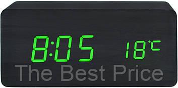 Настольные часы VST-862 с термометром черное дерево (зеленая подсветка)