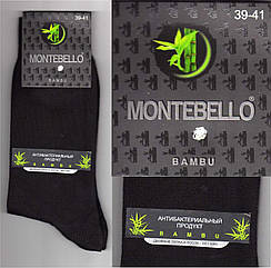 Мужские носки двойная пятка и носок - без шва MONTEBELLO BAMBU бамбук 39-41р чёрные  НМП-232
