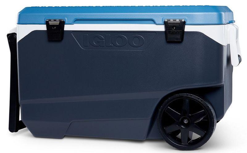 Ізотермічний контейнер термобокс на колесах США 85 л. сіро-синій 590152