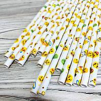 Трубочки 25 шт бумажные одноразовые, разноцветные смайлики