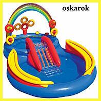 Детский надувной бассейн с горкой игровой центр РАДУГА INTEX 57453