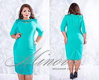 Красивое бирюзовое платье батал с гипюровой вставкой. Арт-3521/7. Платье больших размеров