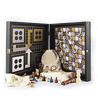 """Комбинированная игра 4 в 1 в деревянном футляре венге """"Manopoulos"""" (шахматы, нарды, лудо, змейки/лесенки),"""