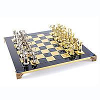 """S10BLU шахматы """"Manopoulos"""", """"Лучники"""", латунь, в деревянном футляре, синие, фигуры золото/серебро, 44х44см, 8"""