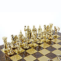 """S10BRO шахматы """"Manopoulos"""", """"Лучники"""", латунь, в деревянном футляре, коричневые, фигуры золото\серебро,"""