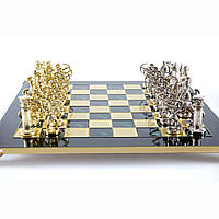 """S10GRE шахматы """"Manopoulos"""", """"Лучники"""", латунь, в деревянном футляре, зеленые,фигуры золото/серебро 44х44см, 8"""