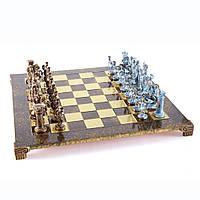 """S11BBRO шахматы """"Manopoulos"""", """"Греко-римские"""", латунь, в деревянном футляре, синие, фигуры бронза/синяя"""