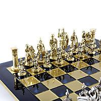 """S11BLU шахматы """"Manopoulos"""", """"Греко-римские"""", латунь, в деревянном футляре, синие, 44х44см, 7,4 кг"""