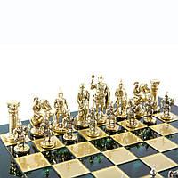 """S11GRE шахматы """"Manopoulos"""", """"Греко-римские"""", латунь, в деревянном футляре, зелёные, фигуры золото/серебро"""