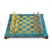 """S11TIR шахматы """"Manopoulos"""", """"Греко-римские"""", латунь, в деревянном футляре, бирюзовые, фигуры золото/серебро,"""