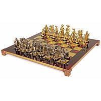 "S12RED шахматы ""Manopoulos"", ""Мушкетеры"", латунь, в деревянном футляре, красные, фигуры золото/серебро,"