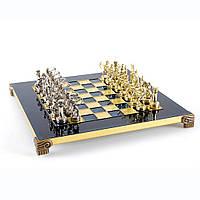 """S15BLU шахматы """"Manopoulos"""", """"Лучники"""", латунь, в деревянном футляре, синие, фигуры золото/серебро 28х28см 3,2"""