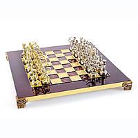 """S15RED шахматы """"Manopoulos"""", """"Лучники"""", латунь, в деревянном футляре, красные, фигуры золото/серебро,28х28см,"""