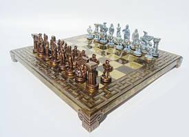 """S16BMBRO шахматы """"Manopoulos"""", """"Спартанский воин"""", доска с узором, латунь, в деревянном футляре, коричневые,"""