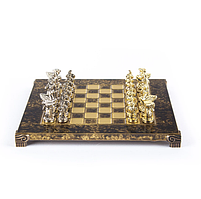 "S16BRO шахматы ""Manopoulos"", ""Спартанский воин"", латунь, в деревянном футляре, коричневые, фигуры"